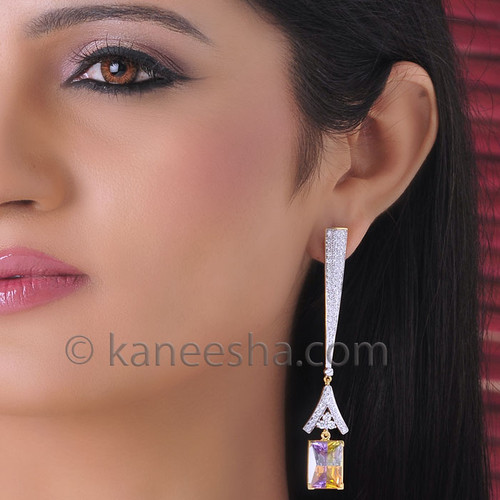 Sparkling Real Diamond Dangling Earrings