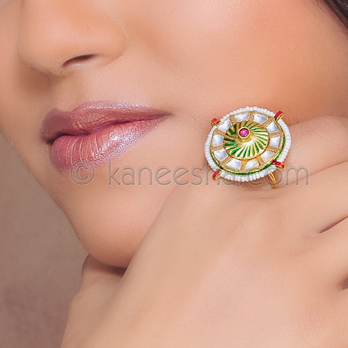 Kundan Enamel Handmade Ring