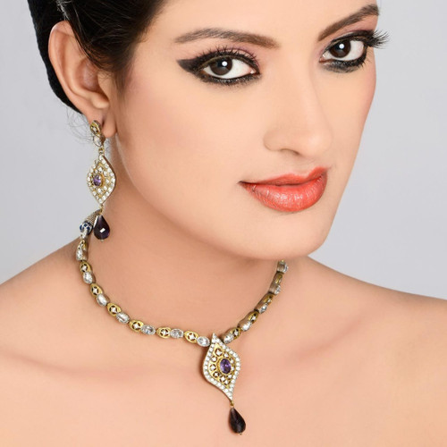 Antique Crystal Diamond Necklace Set
