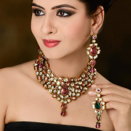Rani Pink diamond Studded Necklace