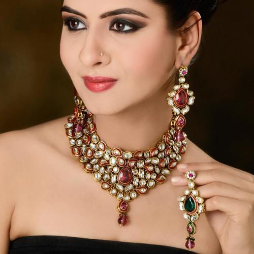 Rani Pink diamond Studded Necklace