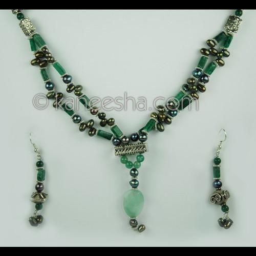 Jade Green Beaded Necklace Set