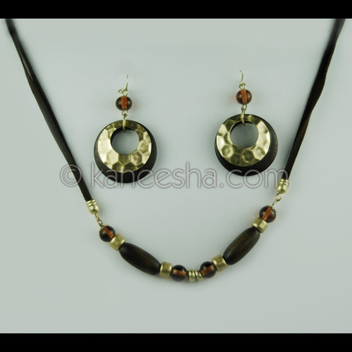 Wooden Beaded Necklace And Earrings