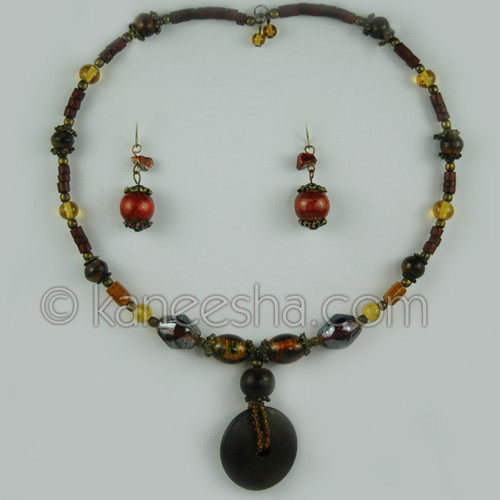 Glass Beaded Brown Necklace Set