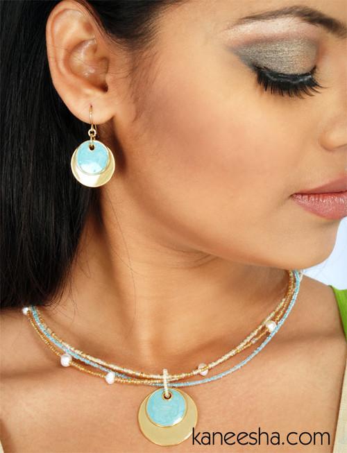 Hematite Enameled Disk Necklace