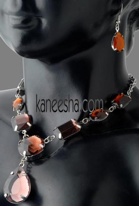Macro Gem Studded Necklace Earrings