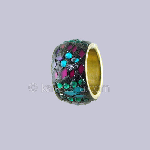 Multi Color Stone Studded Silver Ring