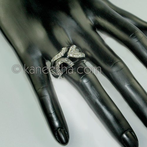 Black Enamel Cz Fashion Ring