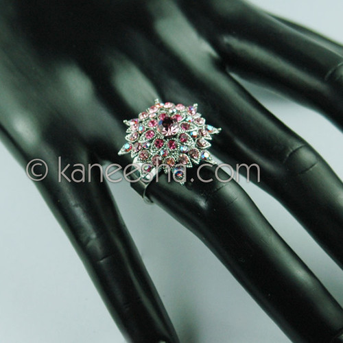 Pink Silver Fashion Ring