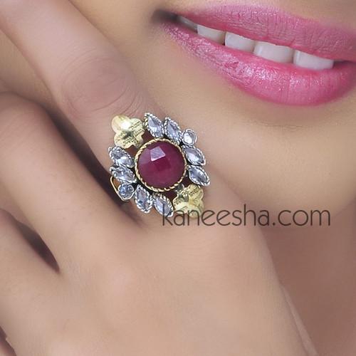 Golden Stylish Indian Ring