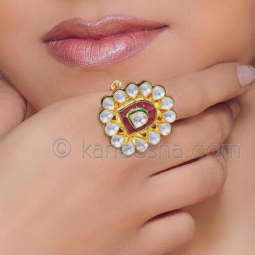 Gold Plated Kundan Enamel Fashion Ring