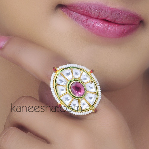 Unique Kundan Enamel Faux Pearl Ring