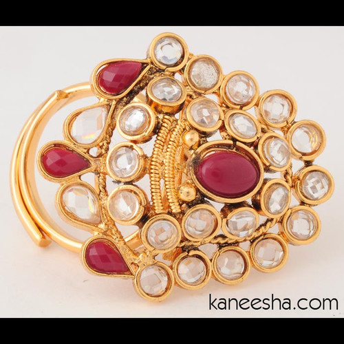 Gold plated Ring Studded with Polki and Maroon Stones