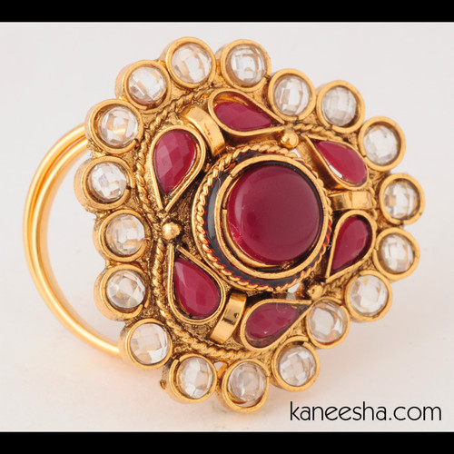 Traditional Gold Plated Polki Ring