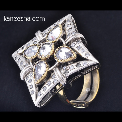 Cubic Zircon & American Diamond Studded Ring