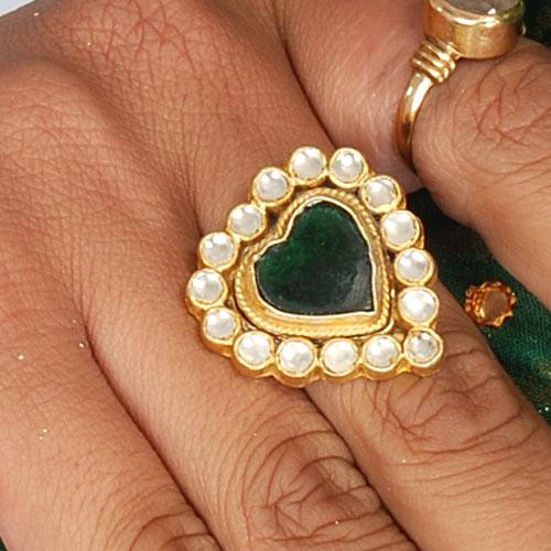 Traditional Heart Shape Kundan Ring