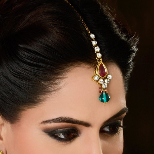 Traditional Indian Gold Plated Headpiece Tikka