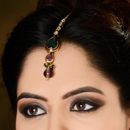 Gold Plated Colored Headpiece Tikka