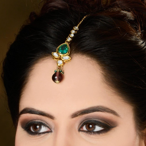Gold Plated Tikka with Diamond Studded