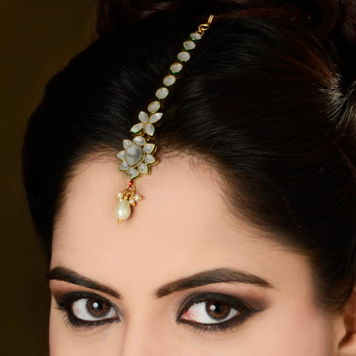 Gold Plated Diamond Studded Headpiece Tikka