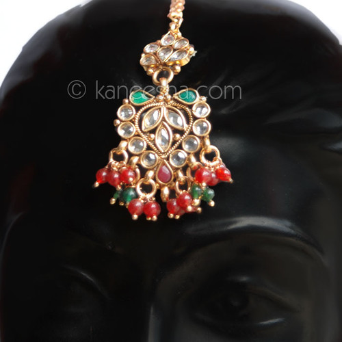 Gold Plated Red/Green Polki Headpiece Tikka