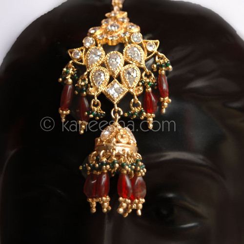 Red Goldplated CZ Headpiece Tikka