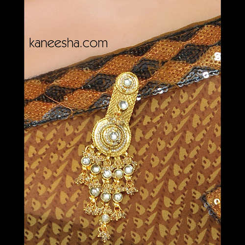 Gold Plated Kundan Sari Pin