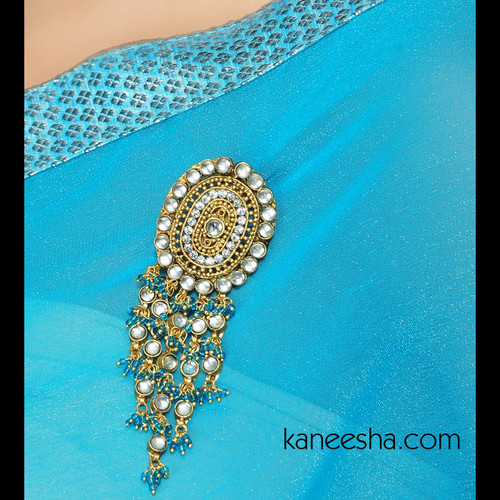 Kundan Gold Plated  Sari Pin