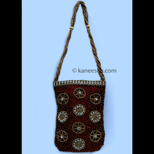 Maroon Hand Embroidered Cell Phone/Ipod/Coin Purse