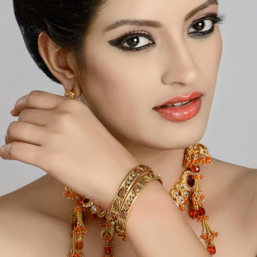 Gold Plated Polki Fashion Bangle Jewelry