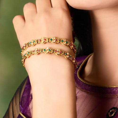 Gold Plated Polki Bangle