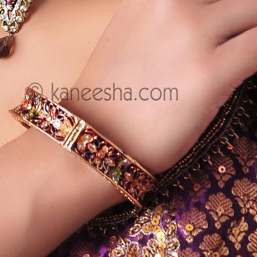 Enameled Polki Bangle Bracelet