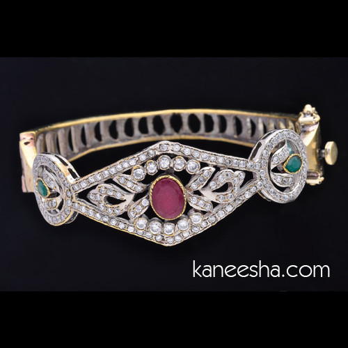 Cubic Zircon Brass Bangle Bracelet