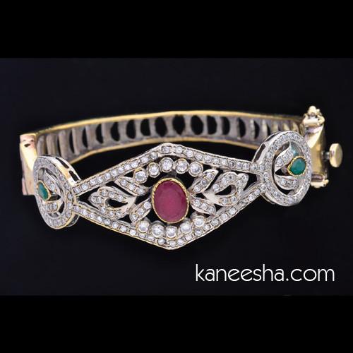 Cubic Zircon Brass Bangle Bracelet