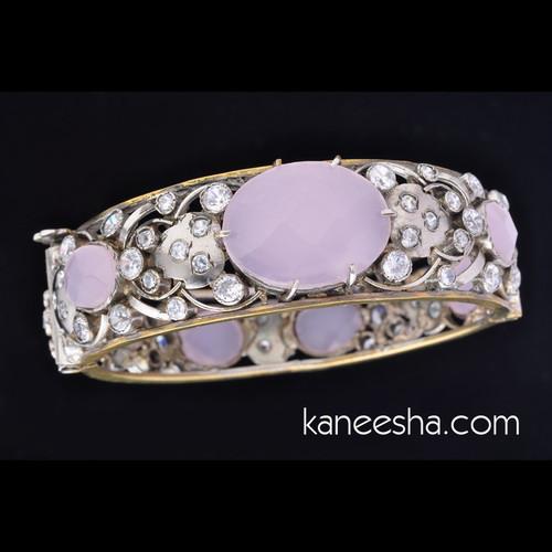 Cubic Zircon Light Purple Studded Bangle Bracelet