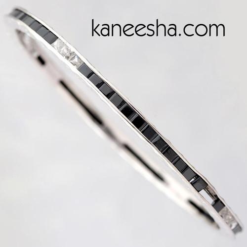 Black Stone Studded Steel Bangle Bracelet