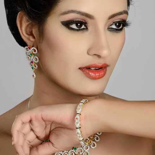 Zircon Diamond Studded Charm Bangle