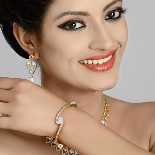 Zircon Diamond Studded Bangle