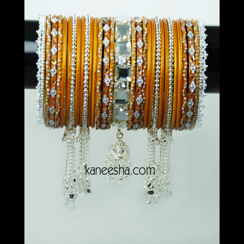 Vibrant Bangle Set in Fiery Orange and Silver Color