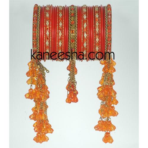 Orange & Golden Traditional Fashion Bangles