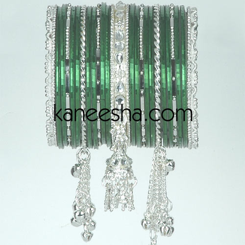 Green/Silver Traditional Fashion Bangles For Women