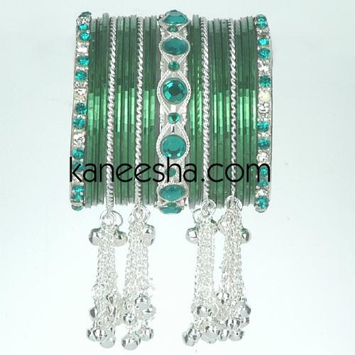 Green/Silver Traditional Fashion Bangles