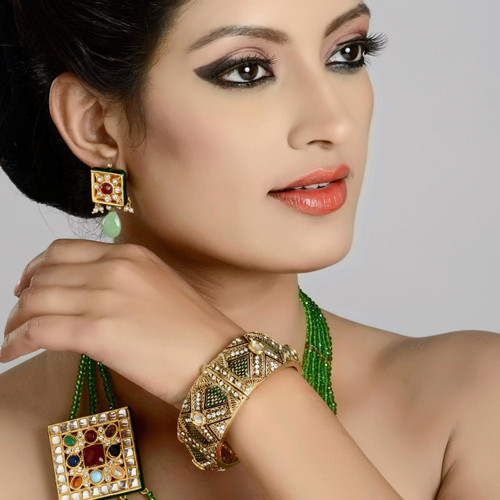 Green Color Gold Plated Kada
