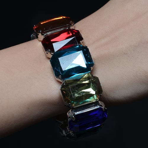 Macro Gem Wide Stretch Indian Bracelet