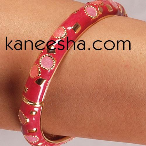 Cerise & Coral Pink Enamel Jewelry Bracelet