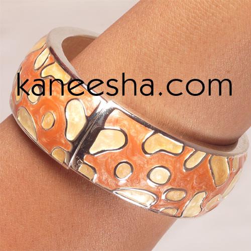 Coral/Peach Enamel Bangle Bracelet