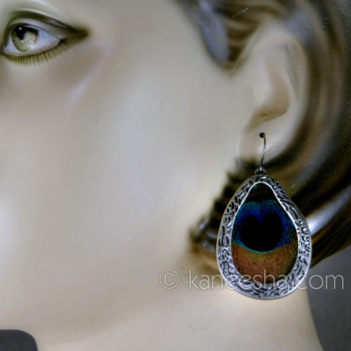 Peacock Feather Earrings silver design