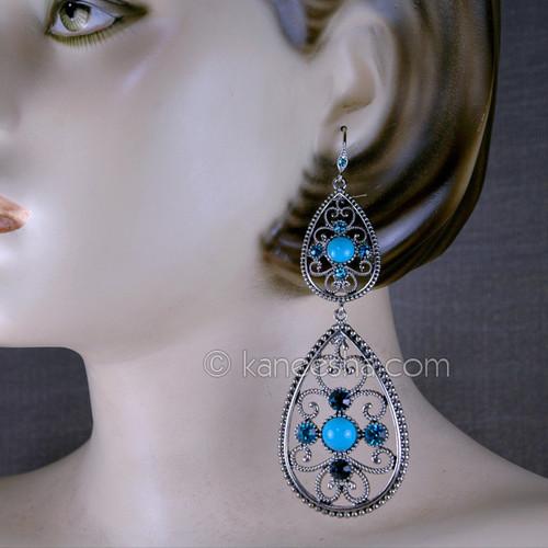 Turquoise Chandelier Bollywood Earrings
