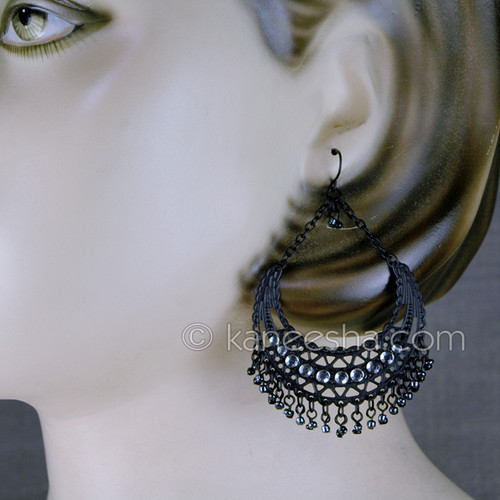 Silver Hoop Bollywood Earrings
