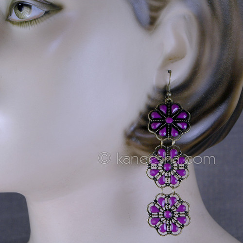 Pink Floral Fashion Earrings